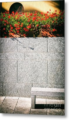 Metal Print featuring the photograph Stone Bench With Flowers by Silvia Ganora