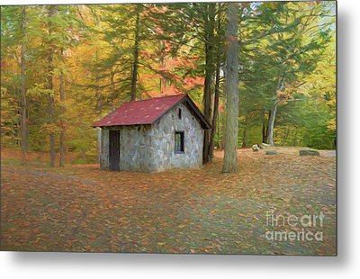 Stone Building In Autumn Metal Print by Kathleen Rinker