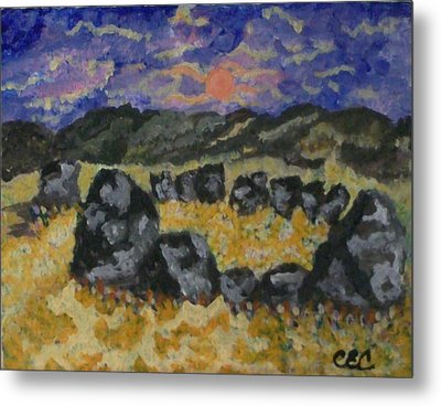 Metal Print featuring the painting Stone Circle by Carolyn Cable