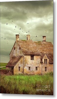 Stone Cottage And Stormy Sky Metal Print by Jill Battaglia
