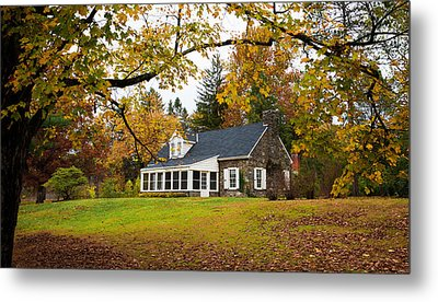 Stone Cottage In The Fall Metal Print