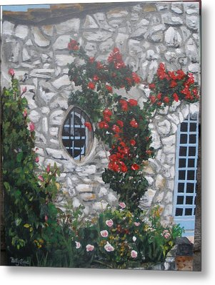 Metal Print featuring the painting Stone House Menton  France by Betty-Anne McDonald