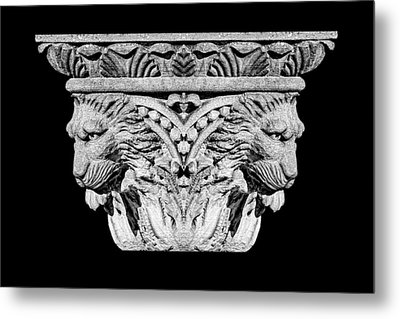 Stone Lion Column Detail Metal Print