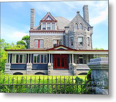 Metal Print featuring the photograph Stone Mansion Red Doors by Becky Lupe