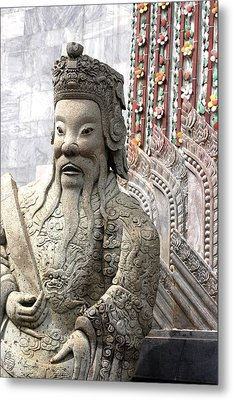 Stone Statue Of A God At The Grand Metal Print by Anne Keiser