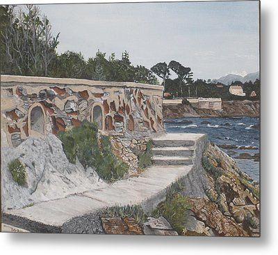 Metal Print featuring the painting Stone Wall France by Betty-Anne McDonald