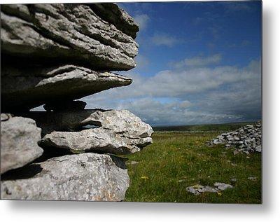 Stone Wall In The Burren Metal Print by Martina Fagan