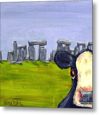 Metal Print featuring the painting Stonehenge Cow by Terry Taylor