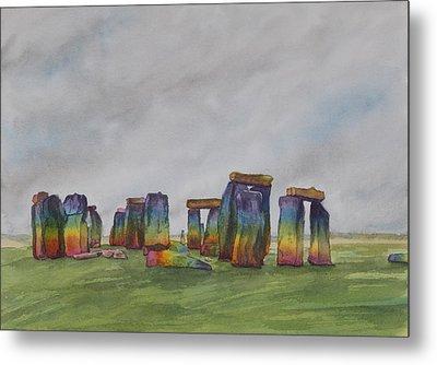 Stonehenge Rainbow Metal Print by Debbie Homewood