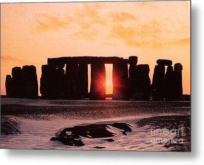 Stonehenge Winter Solstice Metal Print by English School