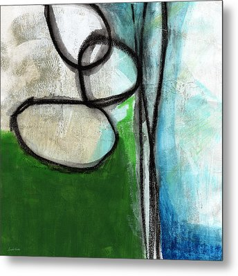 Stones- Green And Blue Abstract Metal Print by Linda Woods