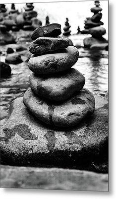 Stones Pyramid In Black And White  Metal Print by Evgeniya Lystsova