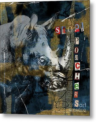 Stop Rhino Poachers Wildlife Conservation Art Metal Print