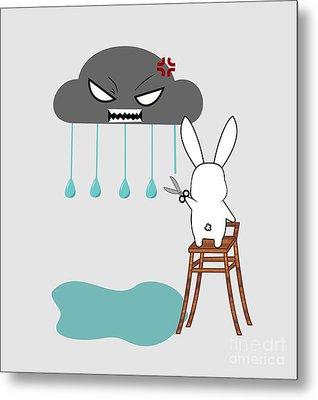 Stopping The Rain Metal Print by Kourai