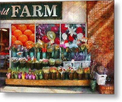Store - Westfield Nj - The Flower Stand Metal Print by Mike Savad