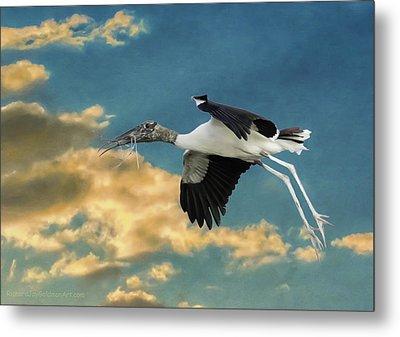 Stork Bringing Nesting Material Metal Print