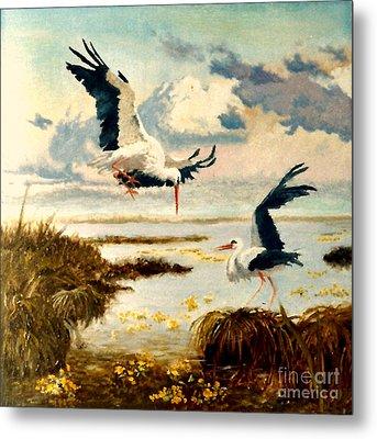 Storks II Metal Print by Henryk Gorecki