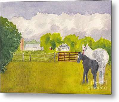 Storm Clouds Mare And Colt At Sunrise Metal Print