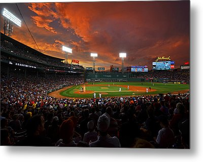Storm Clouds Over Fenway Park Metal Print