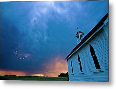Storm Clouds Over Saskatchewan Country Church Metal Print by Mark Duffy
