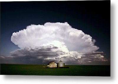 Storm Clouds Over Saskatchewan Granaries Metal Print by Mark Duffy