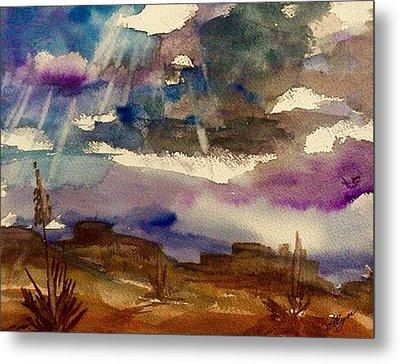 Storm Clouds Over The Desert Metal Print by Ellen Levinson