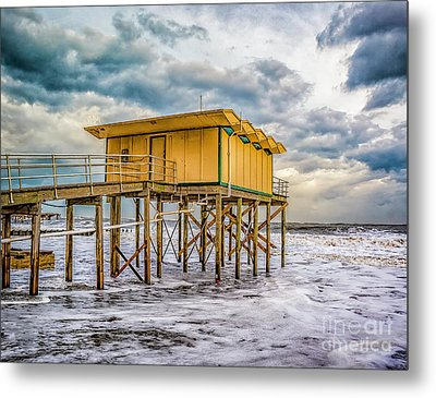 Metal Print featuring the photograph Storm Clouds Over The Ocean by Nick Zelinsky