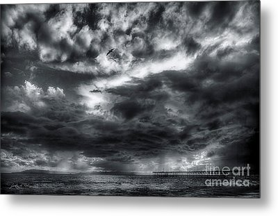 Metal Print featuring the photograph Storm Clouds Ventura Ca Pier by John A Rodriguez