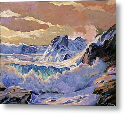 Storm On Pacific Coast Metal Print by David Lloyd Glover