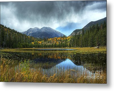 Storm Over Cub Lake Metal Print by Pete Hellmann