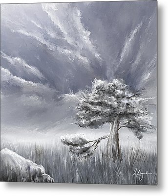 Storm Over Hayfield- Navy And Gray Art- Hayfield Art Metal Print by Lourry Legarde
