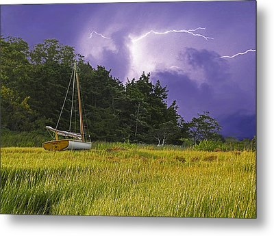 Storm Over Knott's Island Metal Print by Charles Harden