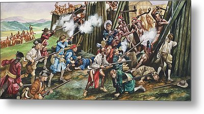 Storming Of The Fortress Of Neoheroka Metal Print by Ron Embleton