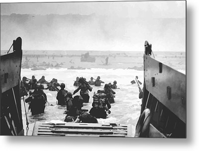 Storming The Beach On D-day  Metal Print by War Is Hell Store