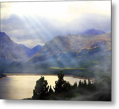 Storms A Coming-lower Two Medicine Lake Metal Print by Marty Koch