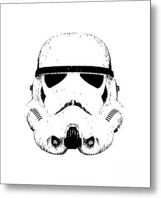 Stormtrooper Helmet Star Wars Tee Black Ink Metal Print