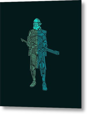 Stormtrooper Samurai - Star Wars Art - Blue, Navy, Teal Metal Print