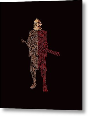 Stormtrooper Samurai - Star Wars Art - Red Brown Metal Print