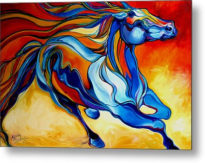 Stormy An Equine Abstract Southwest Metal Print by Marcia Baldwin