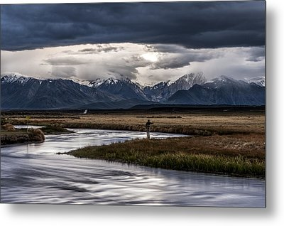 Stormy Day Of Fishing Metal Print by Cat Connor