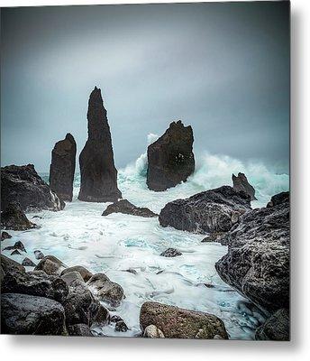 Stormy Iclandic Seas Metal Print by Andy Astbury