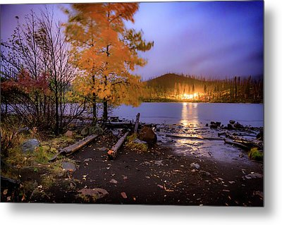 Metal Print featuring the photograph Stormy Night At Round Lake by Cat Connor