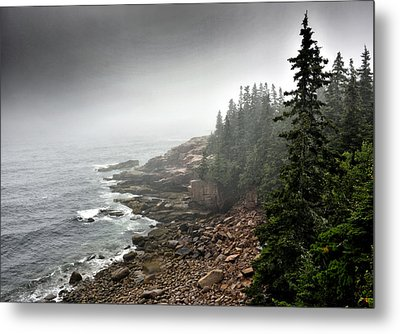 Stormy North Atlantic Coast - Acadia National Park - Maine Metal Print by Brendan Reals