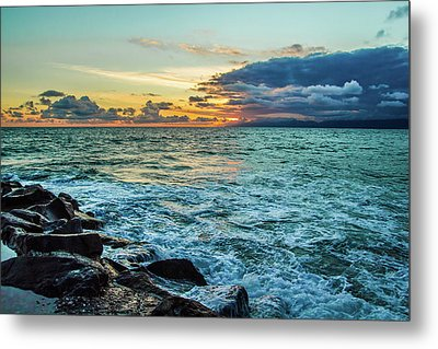 Metal Print featuring the photograph Stormy Ocean Sunset by April Reppucci