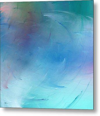 Stormy Seas Aqua Metal Print