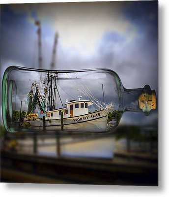 Metal Print featuring the photograph Stormy Seas - Ship In A Bottle by Bill Barber