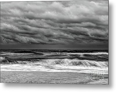 Metal Print featuring the photograph Stormy Skies Turbulent Ocean Outer Banks Bw by Dan Carmichael