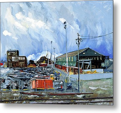 Metal Print featuring the painting Stormy Sky Over Shipyard And Steel Mill by Asha Carolyn Young