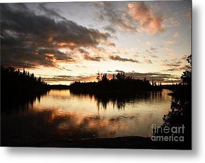 Stormy Sunset On Little Saganaga Lake Metal Print by Larry Ricker