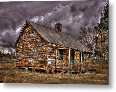 Metal Print featuring the photograph Stormy Times Tenant House Greene County Georgia Art by Reid Callaway